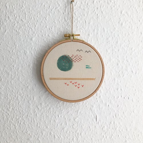 """Image of Full moon scenery - hand embroidered and hand painted wall hanging, 5"""" hoop"""