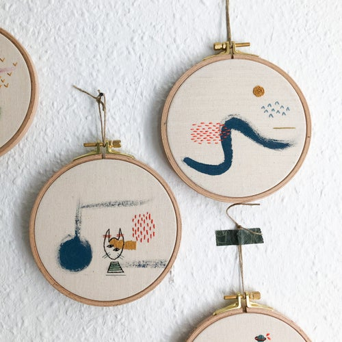 """Image of Sea scenery - hand embroidered and hand painted wall hanging, 5"""" hoop"""