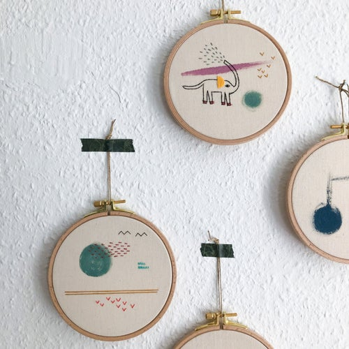 """Image of The Elephant - hand embroidered and hand painted wall hanging, 5"""" hoop"""