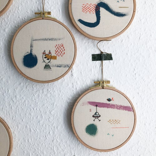 """Image of Hybrid rabbit - hand embroidered and hand painted wall hanging, 5"""" hoop"""
