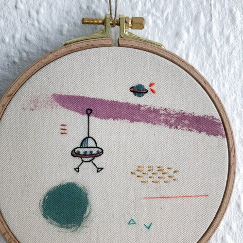 """Image of Space invader - hand embroidered and hand painted wall hanging, 5"""" hoop"""