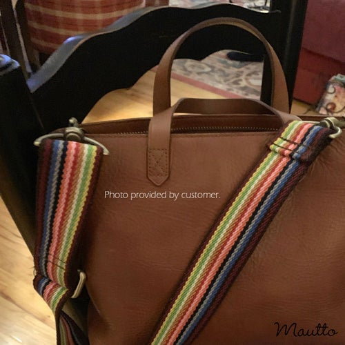 Image of Cocoa Mautto Rainbow Strap for Bags - Wide & Soft/Comfy Cotton - Adjustable Length - #16XLG Clips