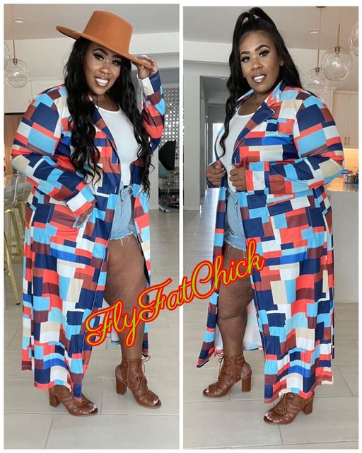 Image of PLUS SIZE MULTI COLORED COLOR BLOCK TRENCH JACKET