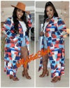 PLUS SIZE MULTI COLORED COLOR BLOCK TRENCH JACKET