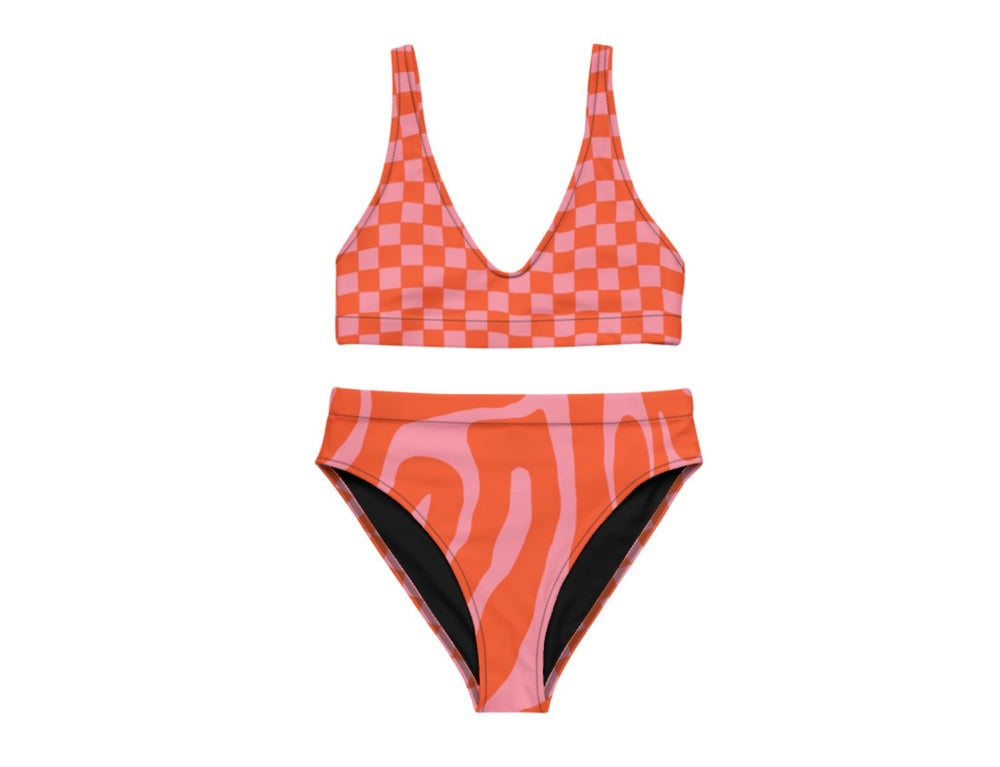 Image of Pink Red Racer Print Highwaist Bikini