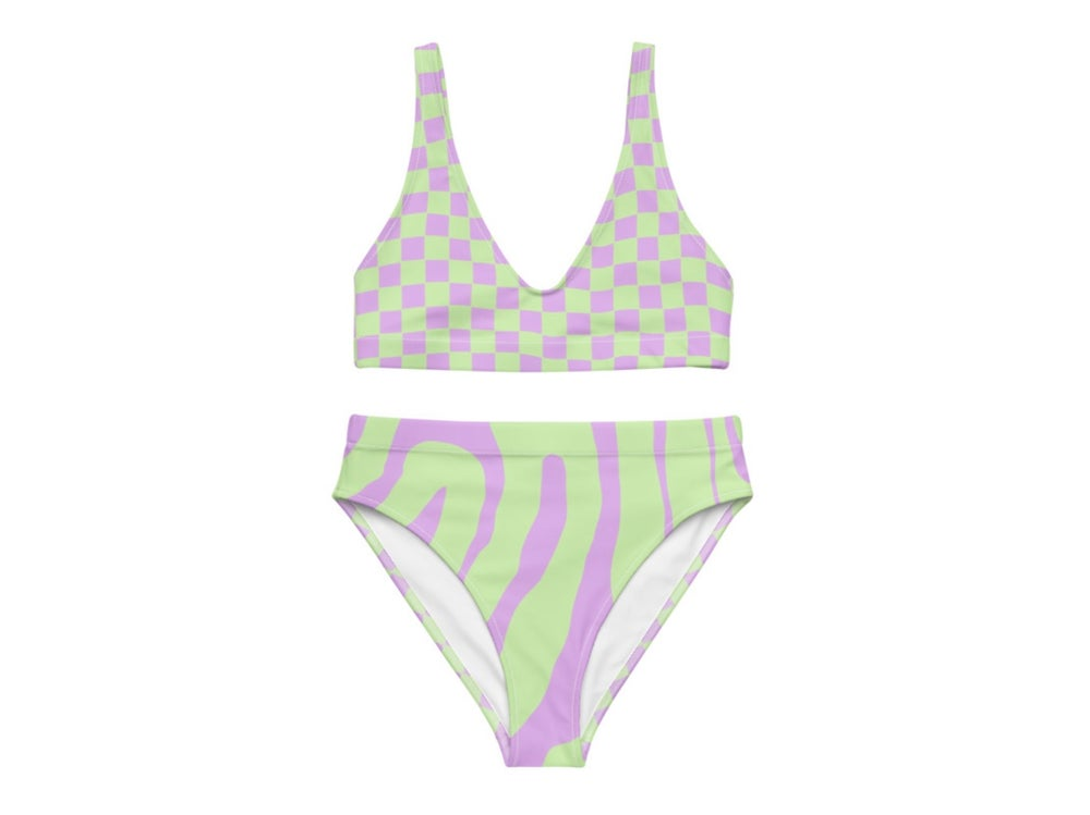 Image of Lilac Mint Racer Print Highwaist Bikini