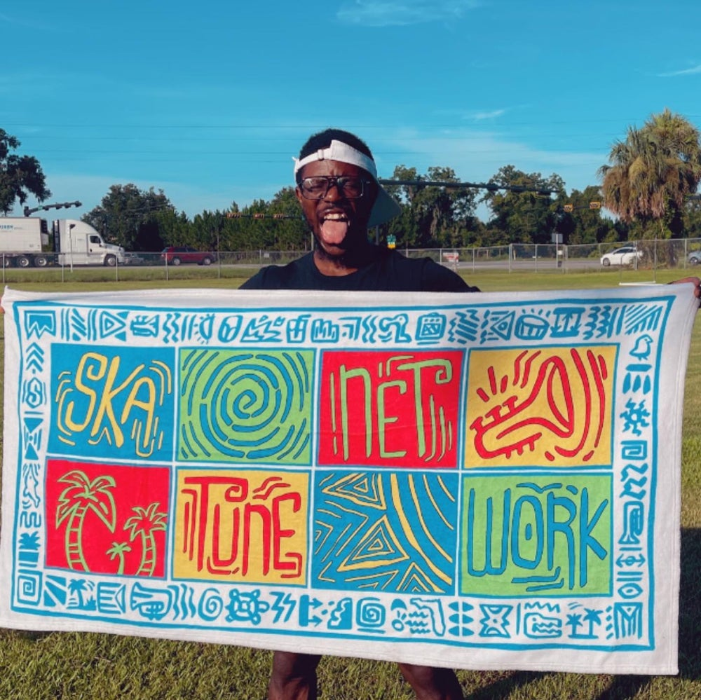Image of Greetings from Ska Shores | Island Vibes Beach Towel