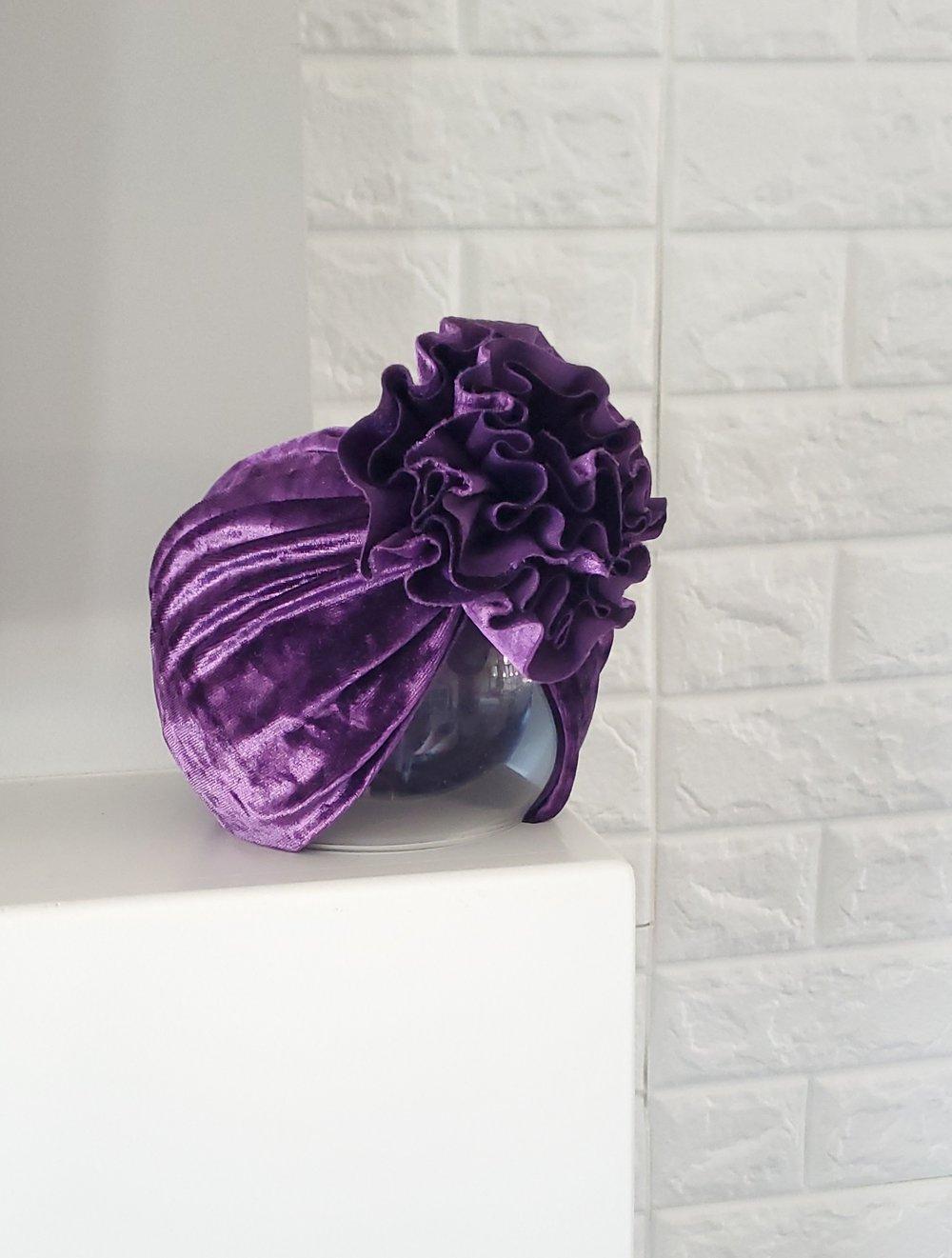 Image of Amethyst velvet blossom turban