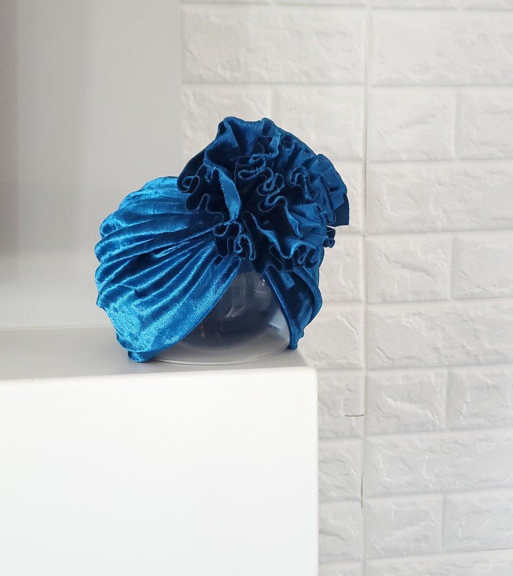 Image of Midnight velvet blossom turban