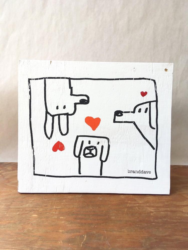 Image of Three Hearts - print on wood panel