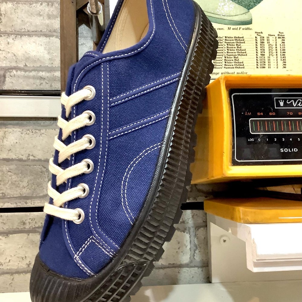 Image of VEGANCRAFT hiker blue canvas sneaker shoes made in Slovakia