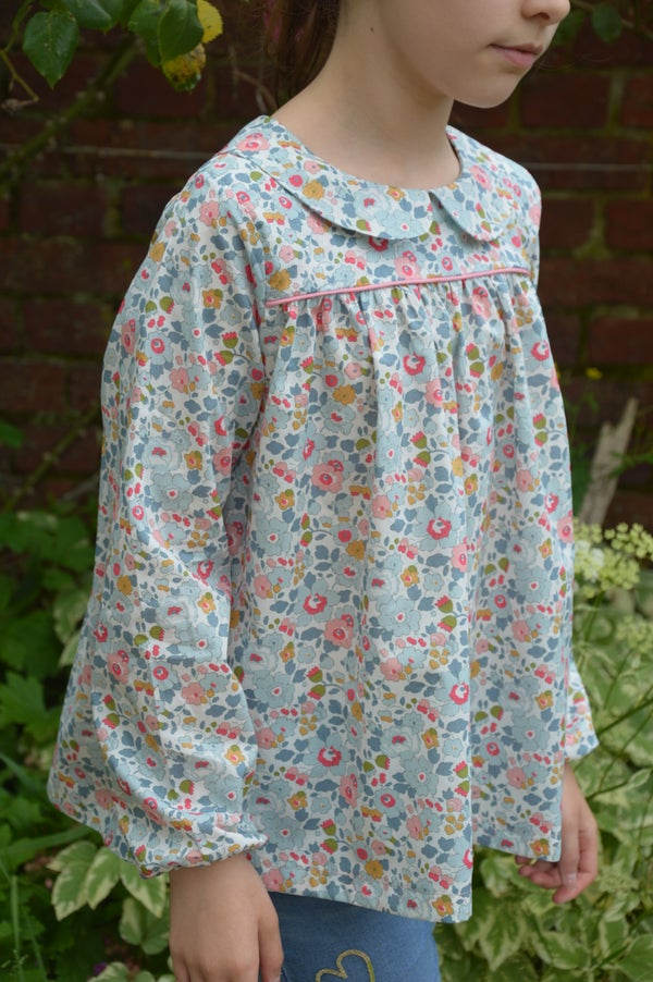 Image of Blouse liberty betsy porcelaine col claudine