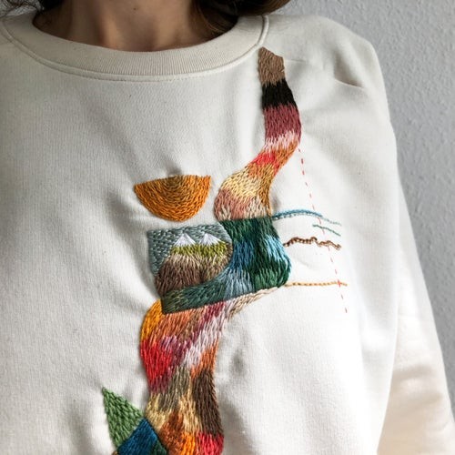 Image of The River of hopeful Statistics - hand embroidered organic cotton hoodie, Unisex, one of a kind