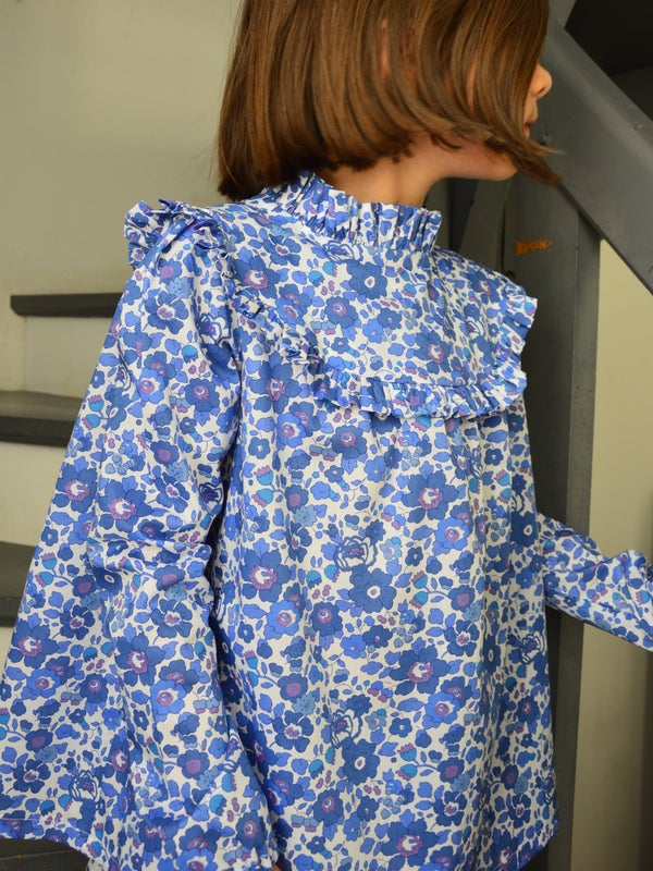 Image of blouse liberty betsy lavande col montant