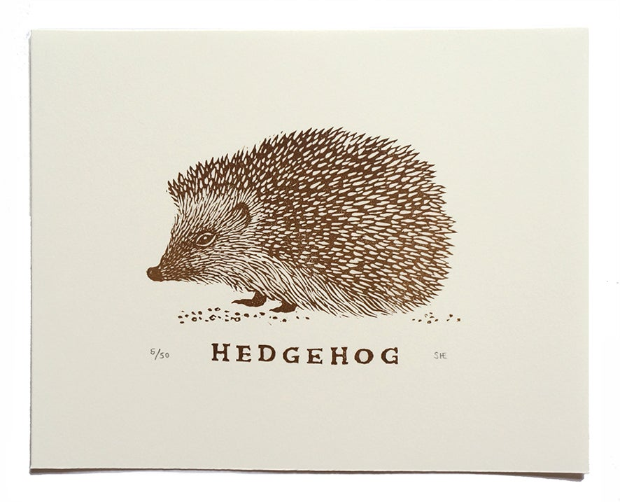 Image of Hedgehog - Linocut