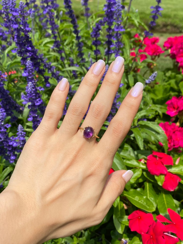 Image of Gold amethyst ring size 8