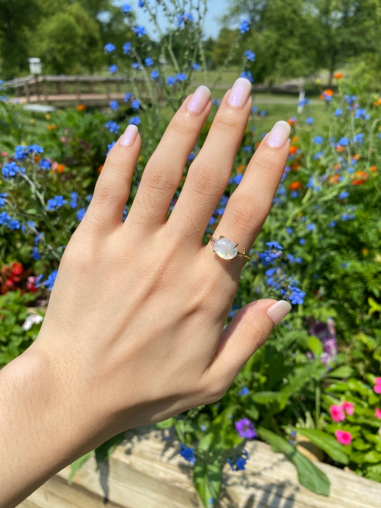 Image of Gold moonstone ring size 9