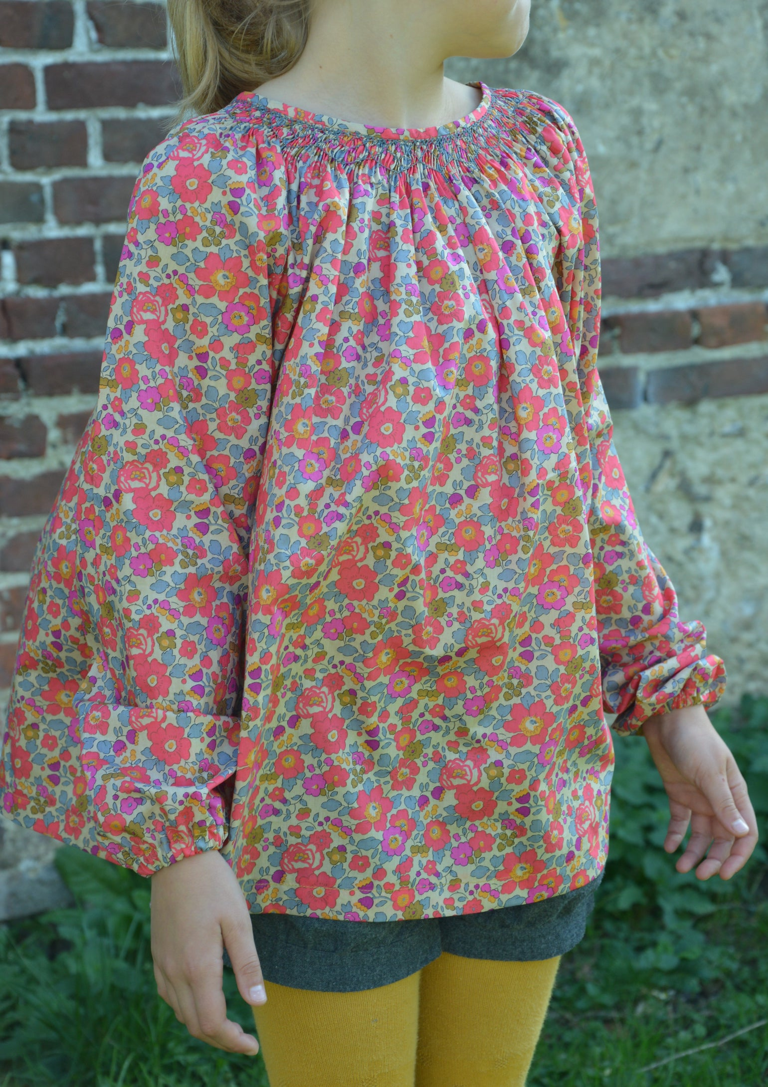 Image of Blouse à smocks betsy fluo thé manches longues