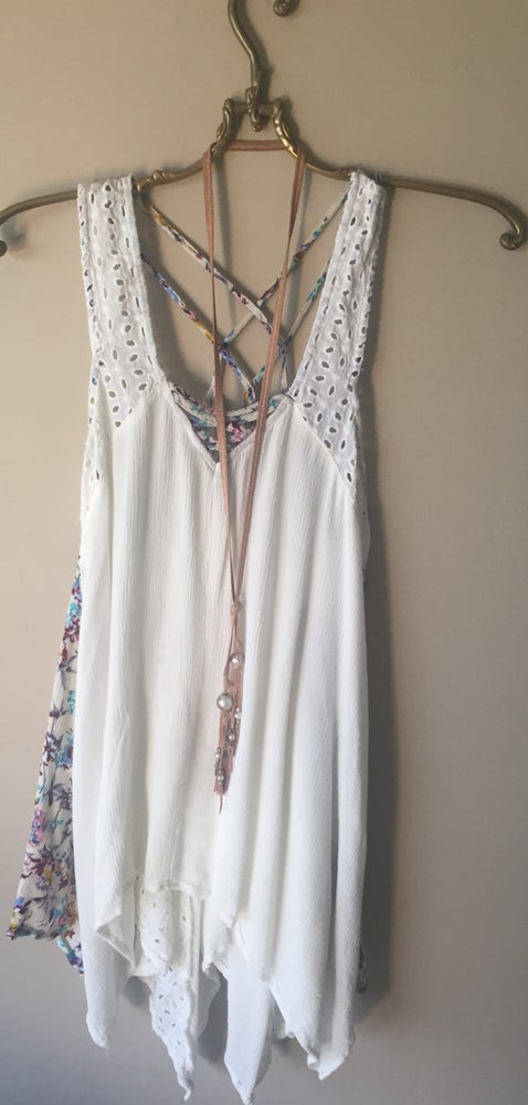 Image of Free people eyelet criss cross back floral inset rare