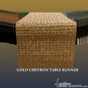 Image of Gold Sparkling Crystal Table Runner