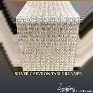 Image of Sparkling Crystal Silver Table Runner Chevron Design