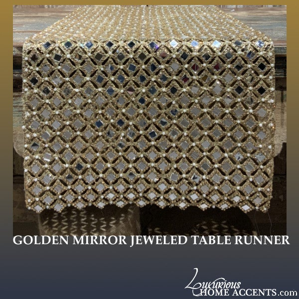 Image of Golden Mirror Jeweled Table Runner