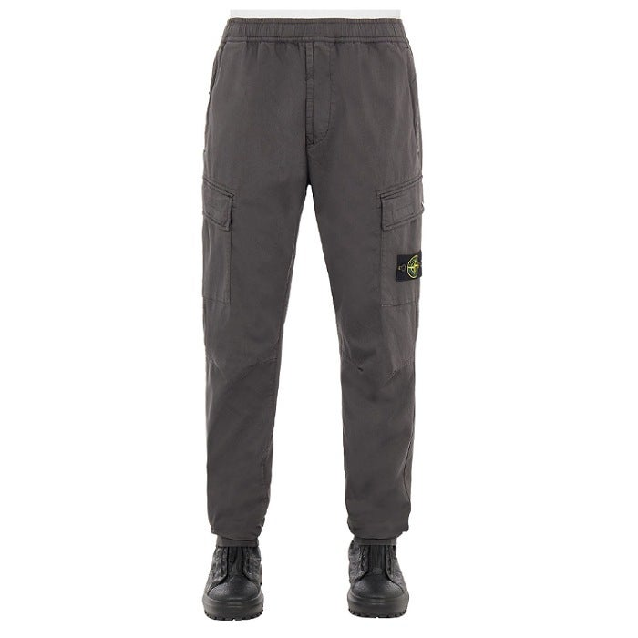 Image of STONE ISLAND 31314 STRETCH COTTON WOOL SATIN TAPERED  STEEL GRAY