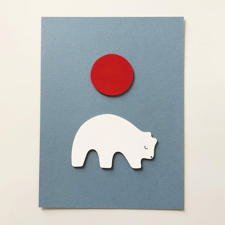 Image of Pola polar bear sunrise, illustration 18x24cm