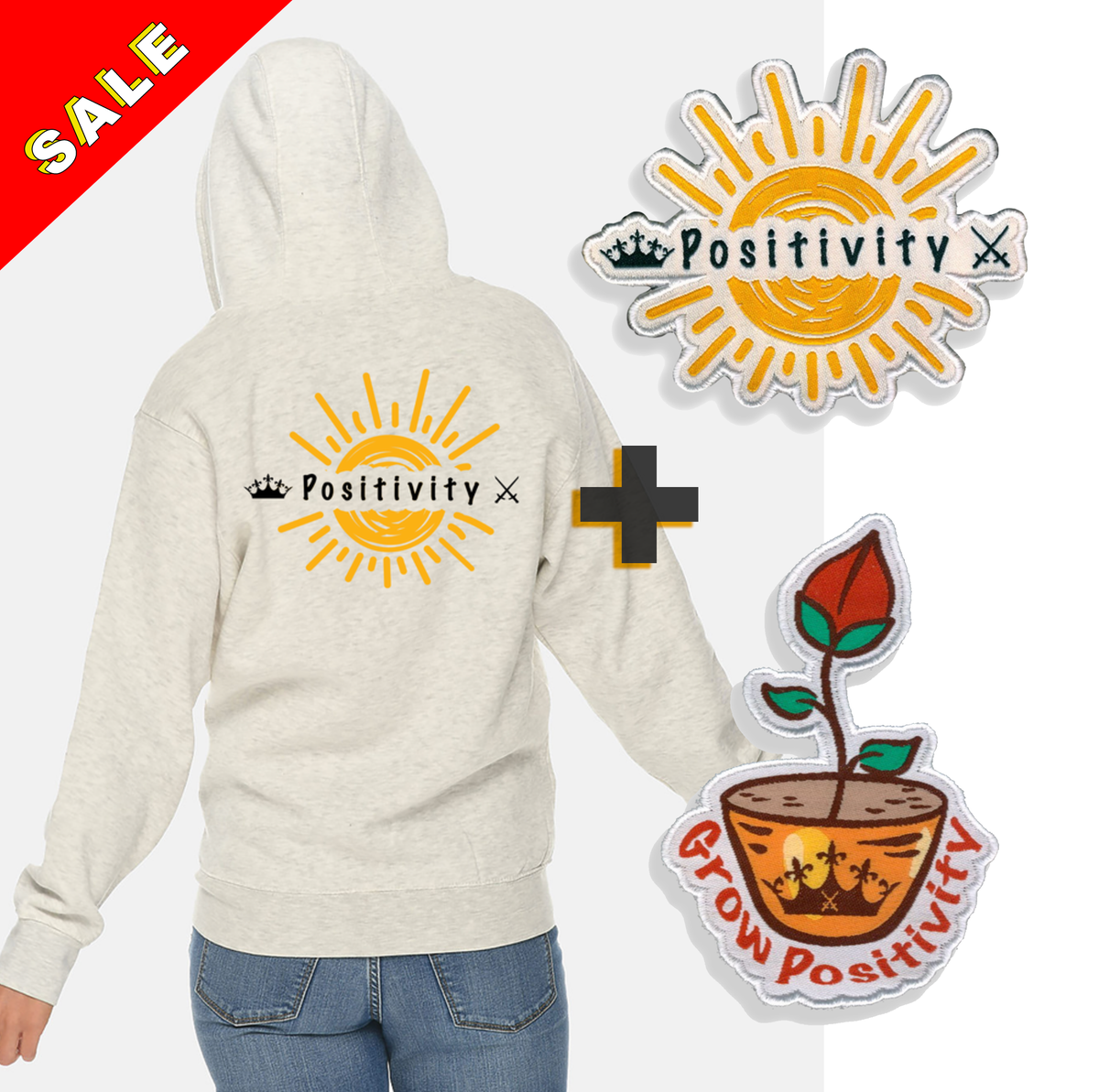 Image of POSITIVITY HOOD + 2 PATCHES
