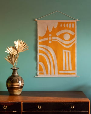 Linen Wall hanging in I see You print in Golden Yellow
