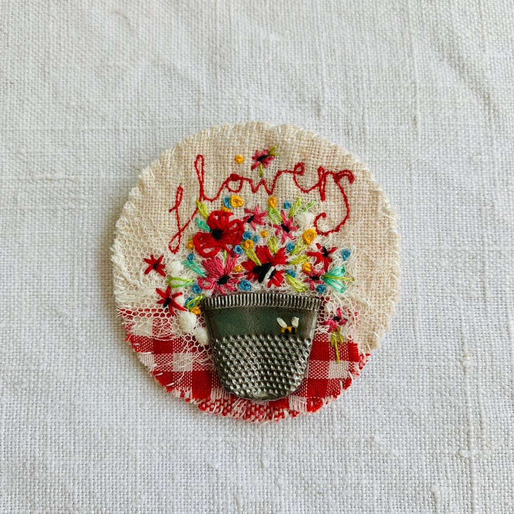 Image of Brooch - embroidered flowers in thimble vase M17