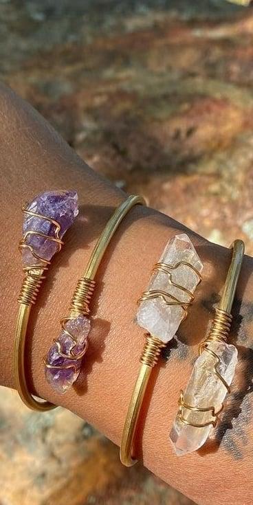 Image of Beautiful Handmade Brass and Crystal Bangle