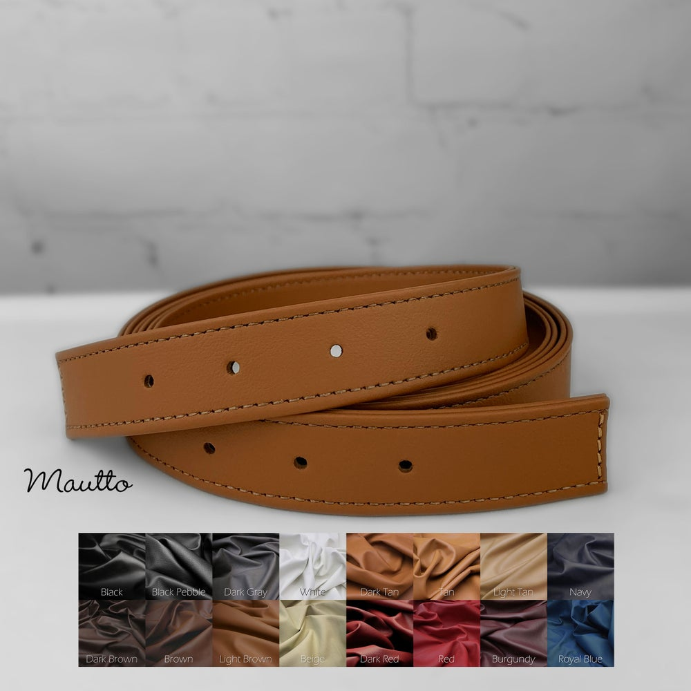 """Image of Adjustable Length Leather Strap - Punched Holes on Ends - 1"""" (1-inch) Wide - Choose Length & Color"""