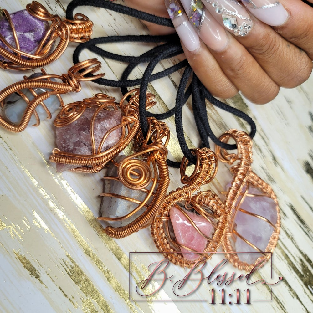 Image of Beautiful Handmade Copper Wrapped Crystal Necklaces