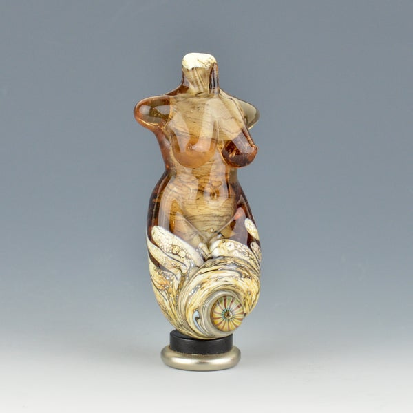 Image of XXL. Coming Up Roses Goddess - Flamework Glass Sculpture Bead