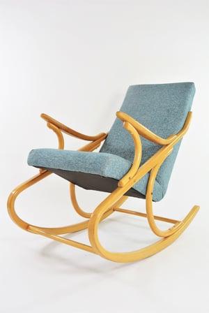 Image of  Rocking Chair tchécoslovaque bleu chiné