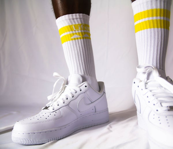 Image of LIFER LONG CREW SOX (WHITE/CANARY)