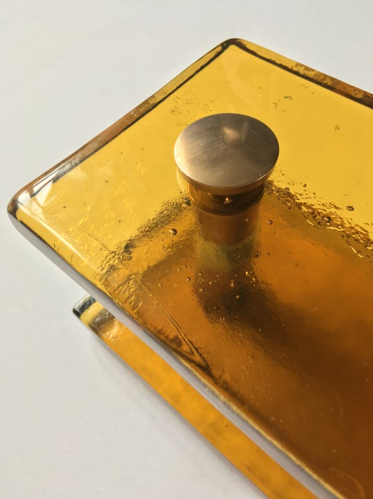 Image of French Amber Glass Handles with Brass Fixings