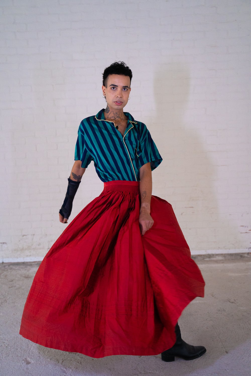 Image of Red Pure Raw Silk Skirt