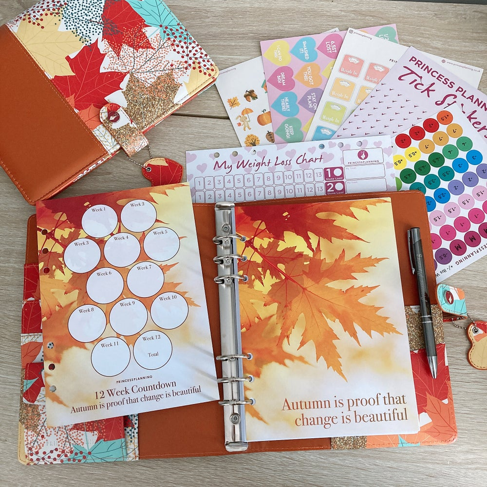 Image of GRANDE PLANNER - AUTUMN LEAVES FULLY LOADED FOOD DIARY BUNDLE CHANGE