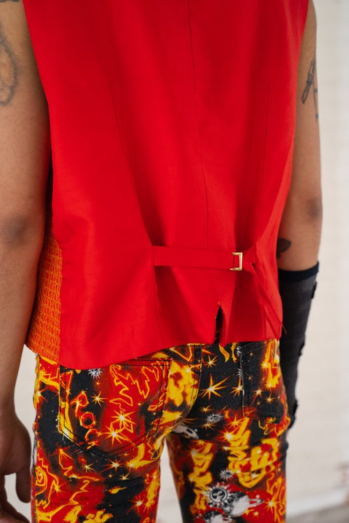 Image of Red Woven Gilet