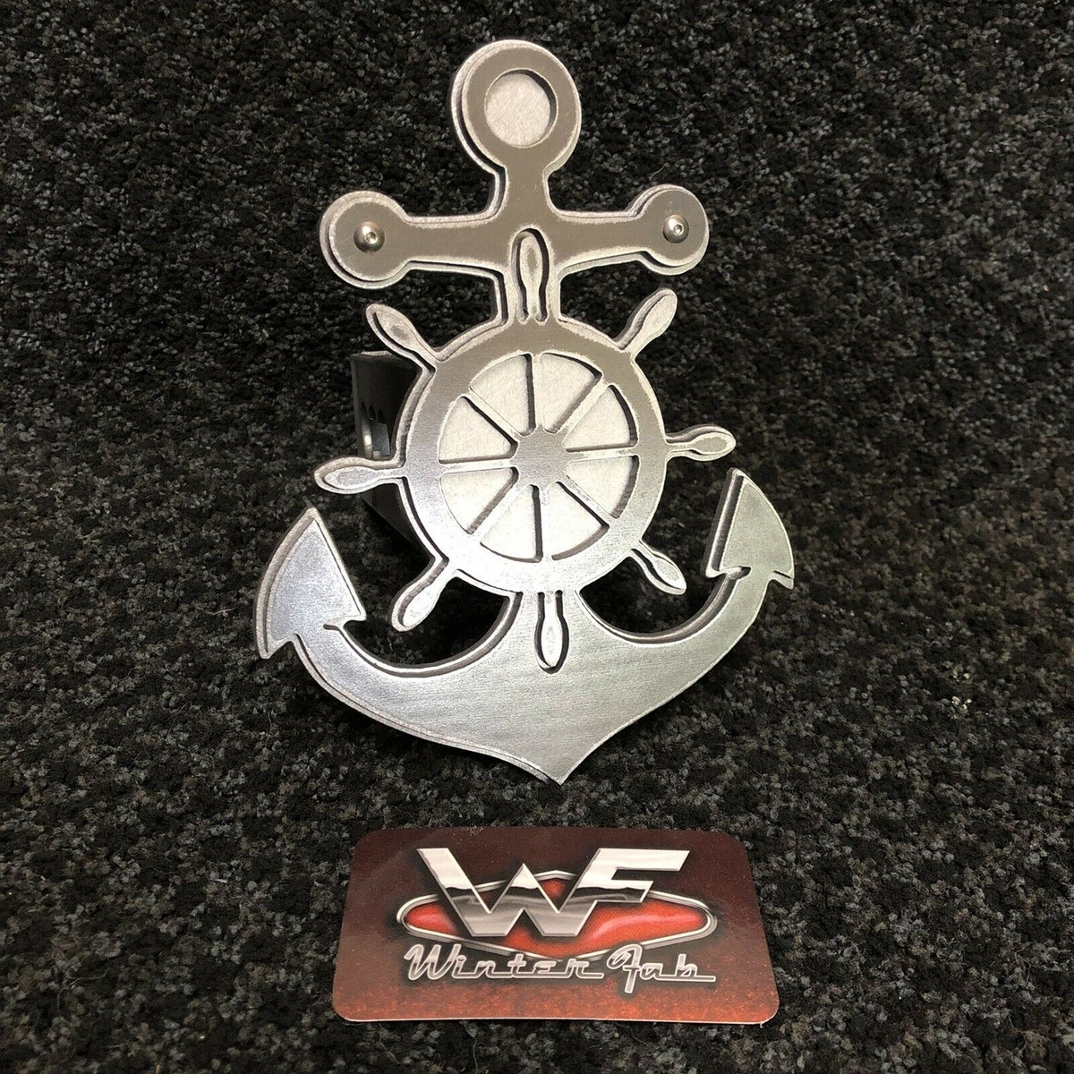 Image of Anchor w/ Ships Wheel - Two Layer Hitch Cover