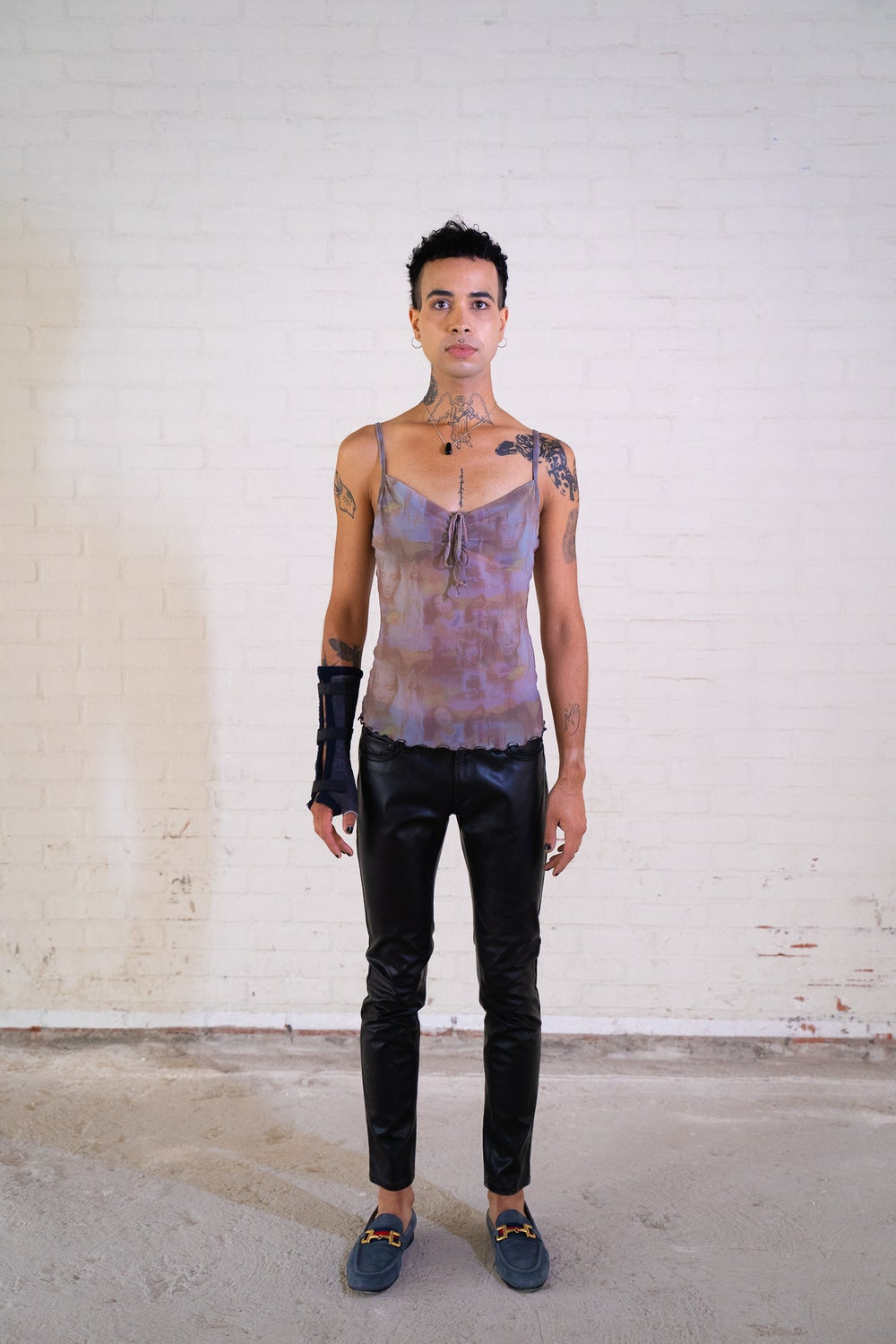 Image of 'Replay' Black Leather Low  Waist Trousers