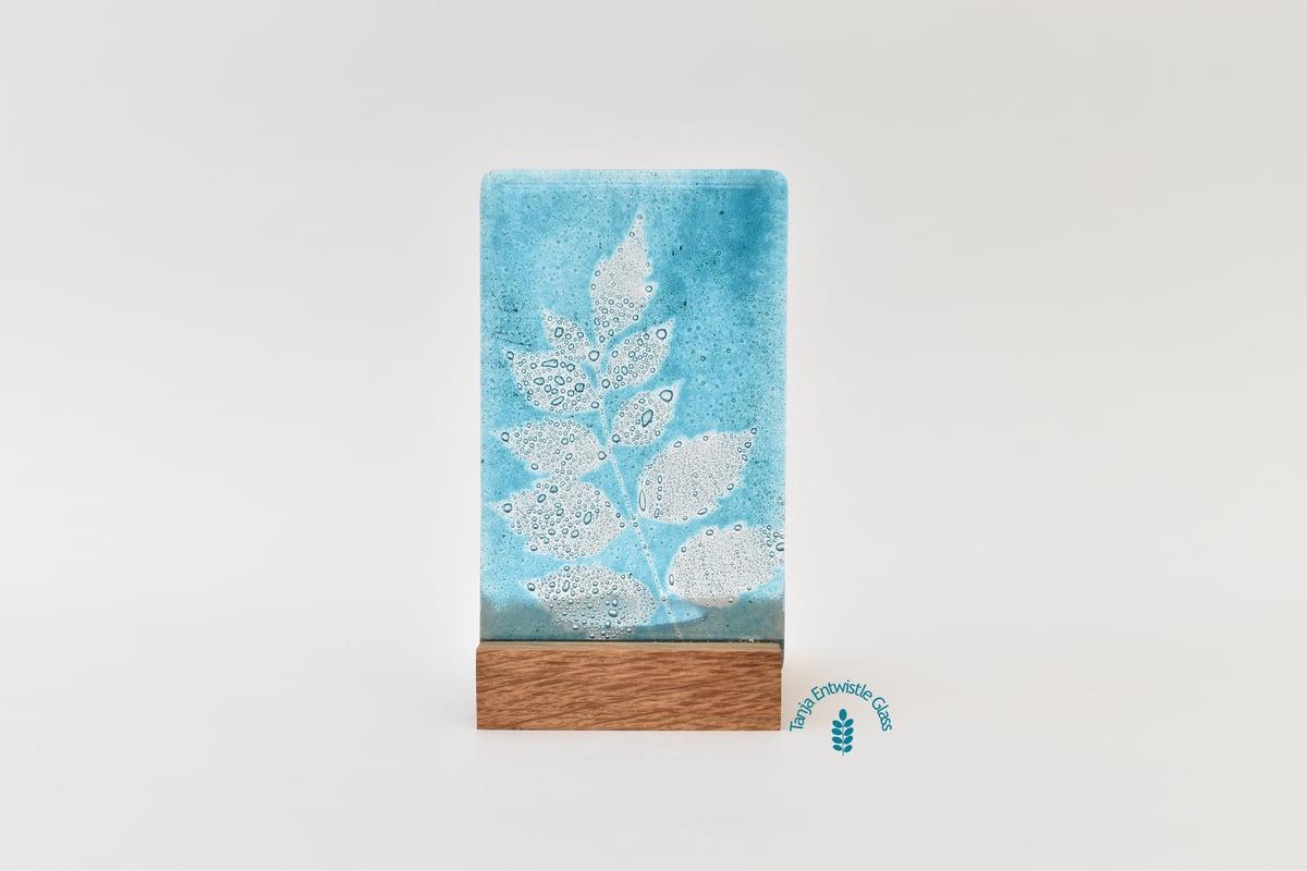 Image of Aqua Golden Rain Tree Leaf Single T-Light