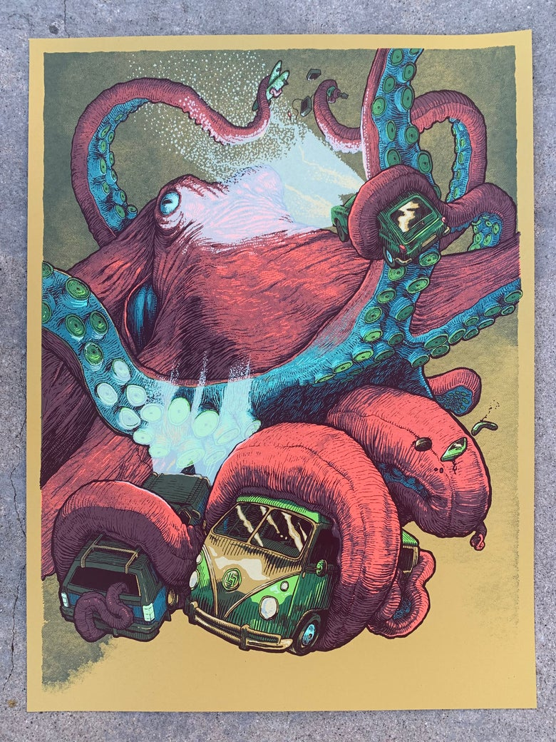 Image of Tentacle Drive-In (art print - Pink/Olive)