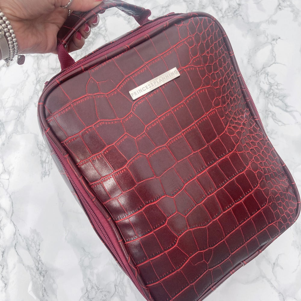 Image of NEW Oxblood Red Croco Insulated Lunch Bag!