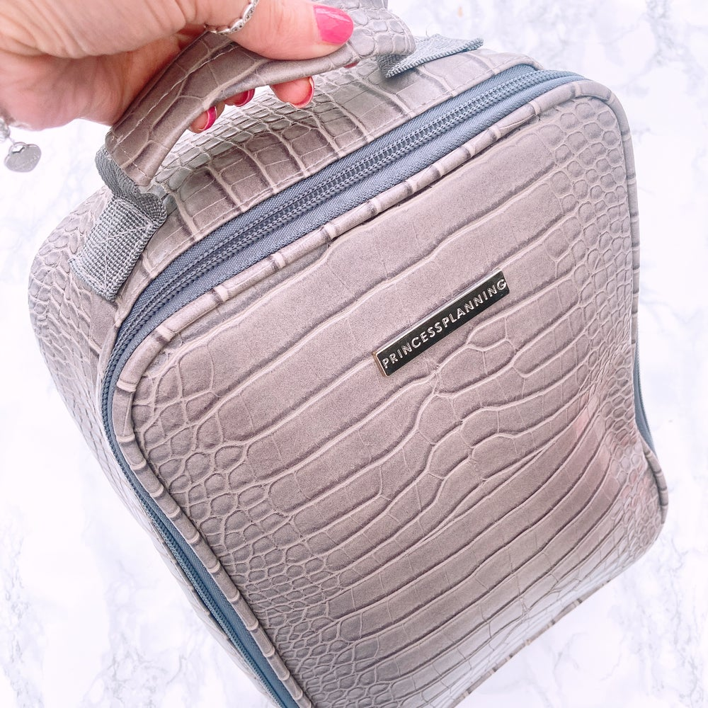 Image of NEW GREY CROCO INSULATED LUNCH BAG