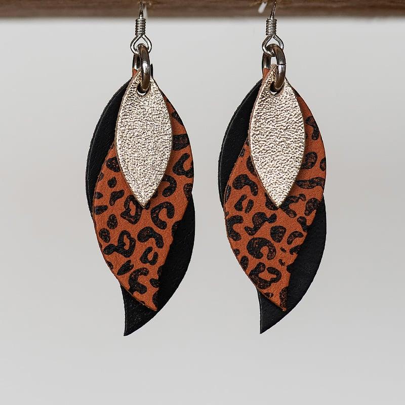 Image of NEW Handmade Australian leather leaf earrings - Gold, black leopard on saddle tan, black [LLT-506]