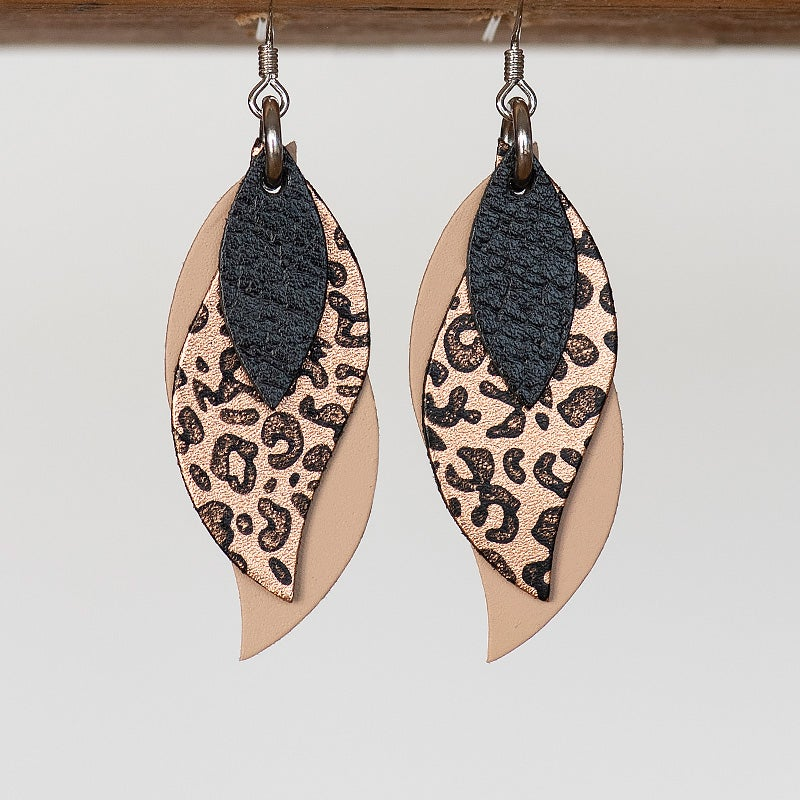 Image of NEW Handmade Australian leather leaf earrings - Black, black leopard on copper, natural [LLN-504]