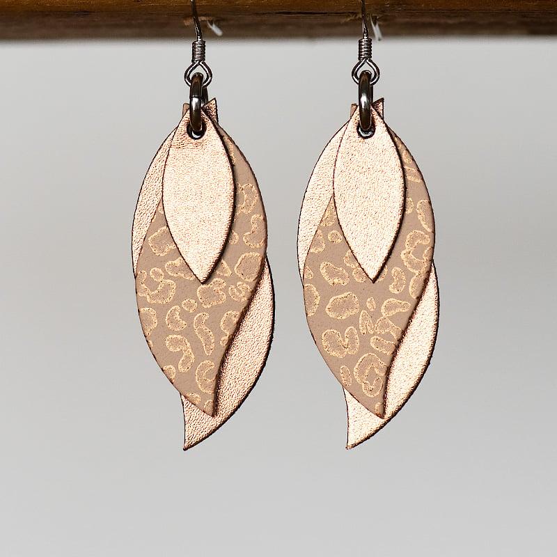 Image of Australian leather leaf earrings - Copper, bronze leopard on natural, copper [LLN-510]